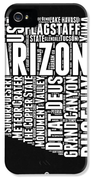 Arizona Black And White Word Cloud Map IPhone 5 Case by Naxart Studio