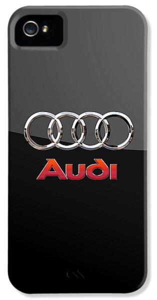 Audi - 3 D Badge On Black IPhone 5 Case