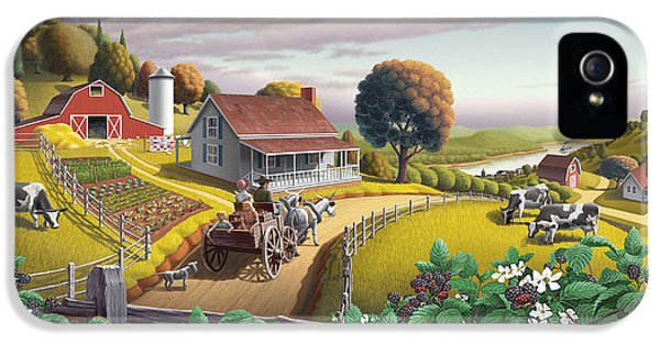 Appalachian Blackberry Patch Rustic Country Farm Folk Art Landscape - Rural Americana - Peaceful IPhone 5 / 5s Case by Walt Curlee