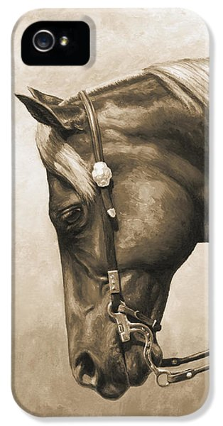 Horse iPhone 5 Case - Western Horse Painting In Sepia by Crista Forest
