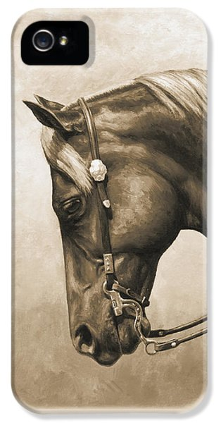 Western Horse Painting In Sepia IPhone 5 Case by Crista Forest