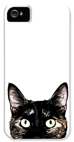 Cats iPhone 5 Case - Peeking Cat by Nicklas Gustafsson