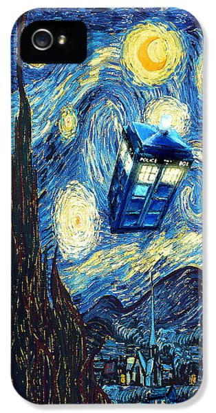 Weird Flying Phone Booth Starry The Night IPhone 5 Case