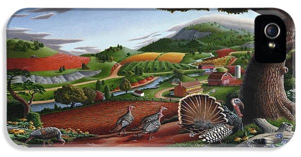 Wild Turkeys Appalachian Thanksgiving Landscape - Childhood Memories - Country Life - Americana IPhone 5 Case