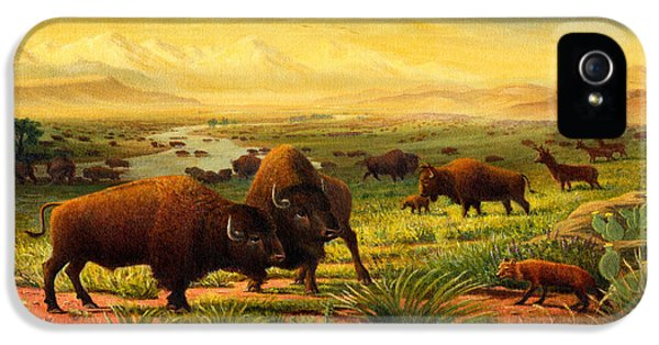 Buffalo Fox Great Plains Western Landscape Oil Painting - Bison - Americana - Historic - Walt Curlee IPhone 5 Case