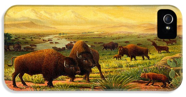 Buffalo Fox Great Plains Western Landscape Oil Painting - Bison - Americana - Historic - Walt Curlee IPhone 5 Case by Walt Curlee