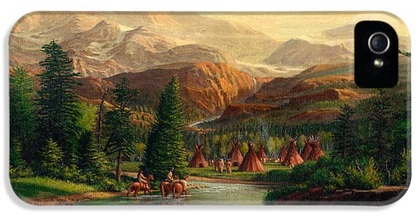 Indian Village Trapper Western Mountain Landscape Oil Painting - Native Americans Americana Stream IPhone 5 Case by Walt Curlee