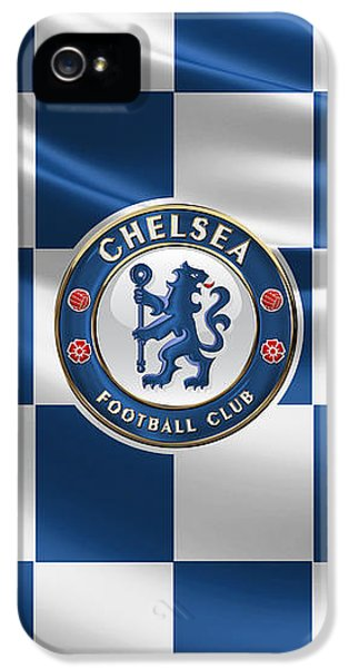 Chelsea F C - 3 D Badge Over Flag IPhone 5 Case