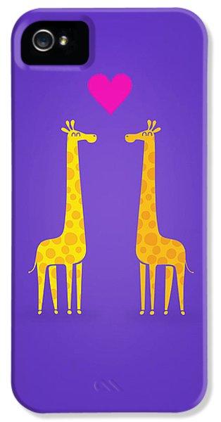 Cute Cartoon Giraffe Couple In Love Purple Edition IPhone 5 Case