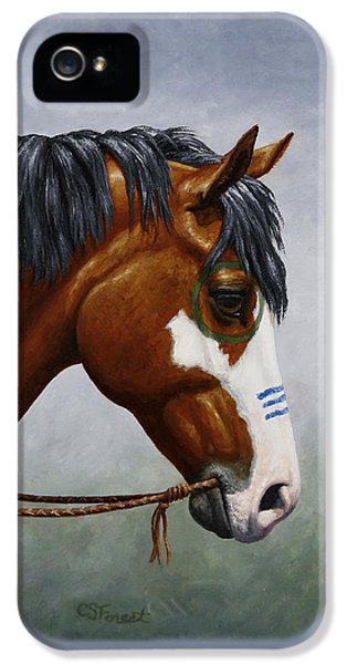 Bay Native American War Horse IPhone 5 Case by Crista Forest