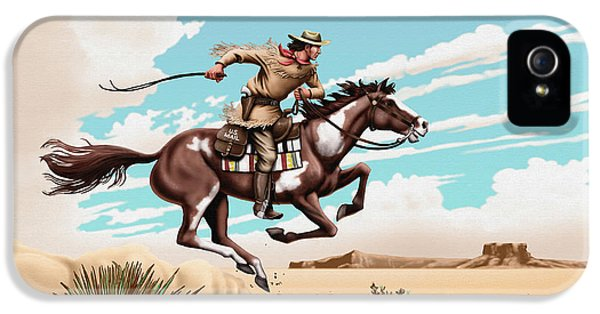 Pony Express Rider Historical Americana Painting Desert Scene IPhone 5 Case by Walt Curlee
