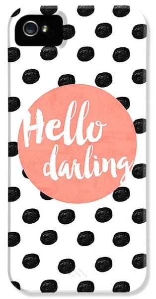 Hello Darling Coral And Dots IPhone 5 Case by Allyson Johnson