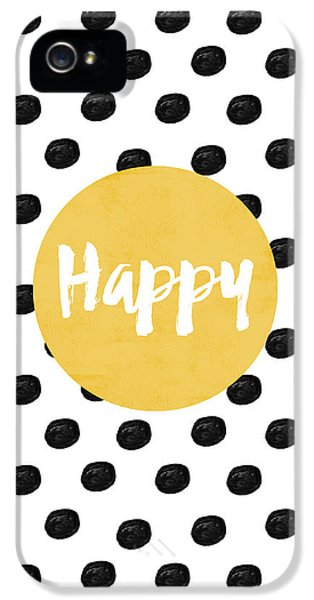 Happy Yellow And Dots IPhone 5 Case by Allyson Johnson