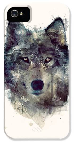 Wolves iPhone 5 Case - Wolf // Persevere by Amy Hamilton