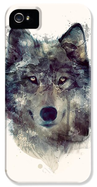 Wolf // Persevere IPhone 5 Case by Amy Hamilton