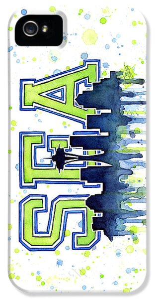 Hawk iPhone 5 Case - Seattle Watercolor 12th Man Art Painting Space Needle Go Seahawks by Olga Shvartsur