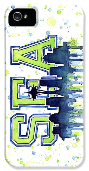 Seattle Watercolor 12th Man Art Painting Space Needle Go Seahawks IPhone 5 Case by Olga Shvartsur