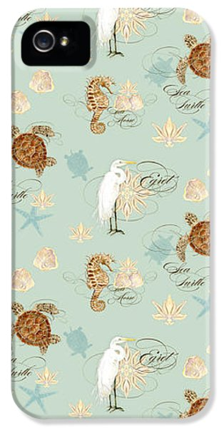 Coastal Waterways - Green Sea Turtle Rectangle 2 IPhone 5 Case by Audrey Jeanne Roberts