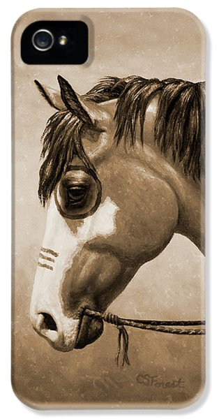 Buckskin War Horse In Sepia IPhone 5 Case by Crista Forest