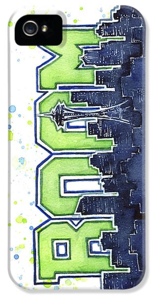 Seattle 12th Man Legion Of Boom Painting IPhone 5 / 5s Case by Olga Shvartsur