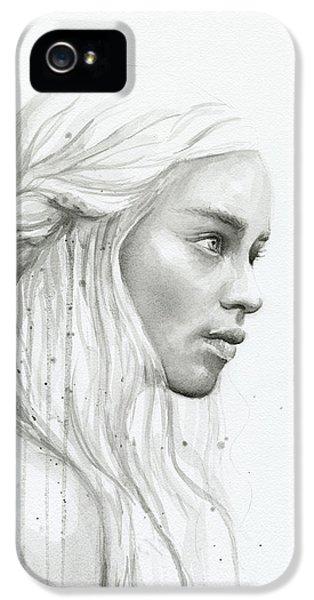 Dragon iPhone 5 Case - Daenerys Watercolor Portrait by Olga Shvartsur