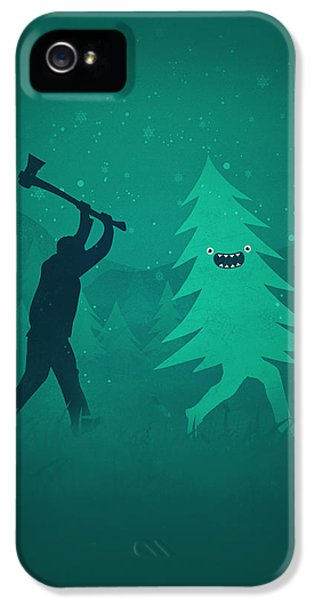 Funny Cartoon Christmas Tree Is Chased By Lumberjack Run Forrest Run IPhone 5 Case by Philipp Rietz