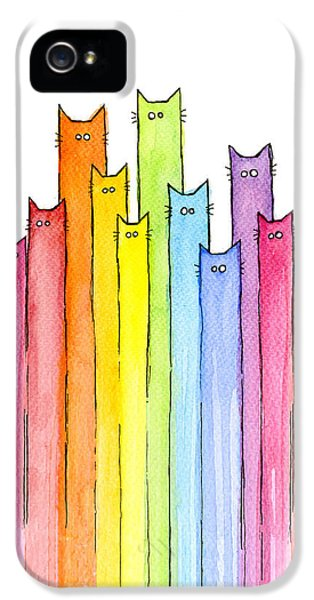 Animals iPhone 5 Case - Cat Rainbow Watercolor Pattern by Olga Shvartsur
