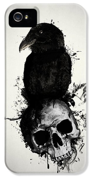 Raven And Skull IPhone 5 Case by Nicklas Gustafsson