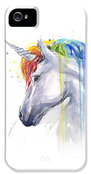 Horse iPhone 5 Case - Unicorn Rainbow Watercolor by Olga Shvartsur