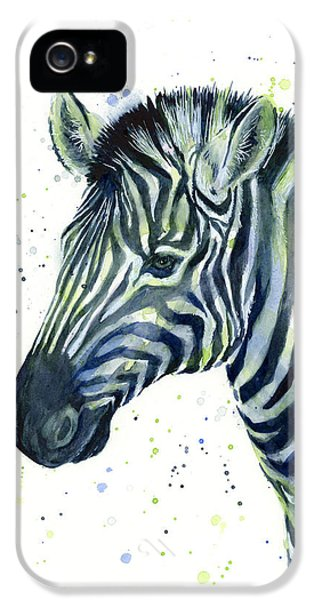 Zebra Watercolor Blue Green  IPhone 5 Case by Olga Shvartsur