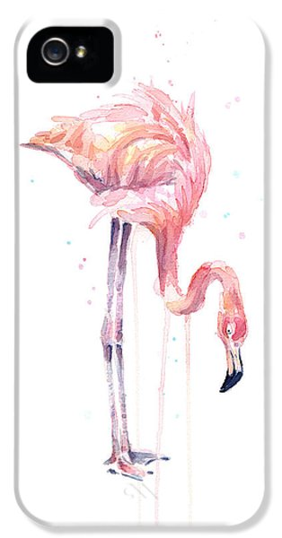 Flamingo Painting Watercolor IPhone 5 / 5s Case by Olga Shvartsur