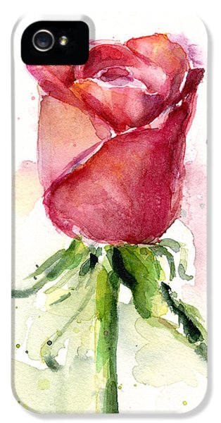 Flowers iPhone 5 Case - Rose Watercolor by Olga Shvartsur
