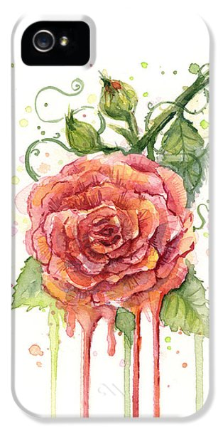 Rose iPhone 5 Case - Red Rose Dripping Watercolor  by Olga Shvartsur