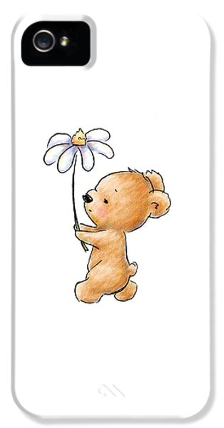 Baby Bear With Flower IPhone 5 Case by Anna Abramska