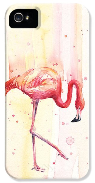 Pink Flamingo Watercolor Rain IPhone 5 / 5s Case by Olga Shvartsur