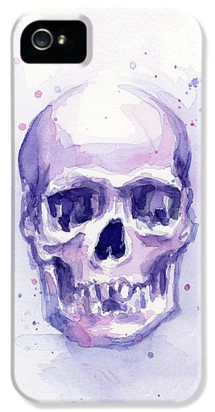 Skull Watercolor Purple IPhone 5 Case by Olga Shvartsur