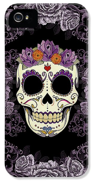 Vintage Sugar Skull And Roses IPhone 5 Case by Tammy Wetzel