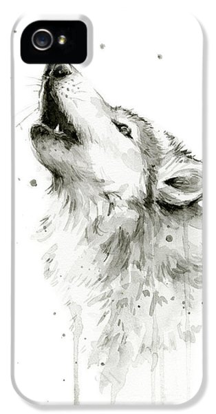 Howling Wolf Watercolor IPhone 5 Case by Olga Shvartsur