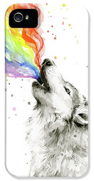 Wolf Rainbow Watercolor IPhone 5 Case by Olga Shvartsur