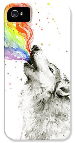 Wolf iPhone 5 Case - Wolf Rainbow Watercolor by Olga Shvartsur