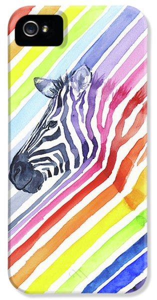 Zebra iPhone 5 Case - Rainbow Zebra Pattern by Olga Shvartsur