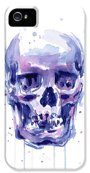 Skull Watercolor IPhone 5 Case by Olga Shvartsur