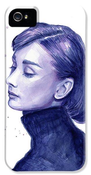 Audrey Hepburn iPhone 5 Case - Audrey Hepburn Portrait by Olga Shvartsur