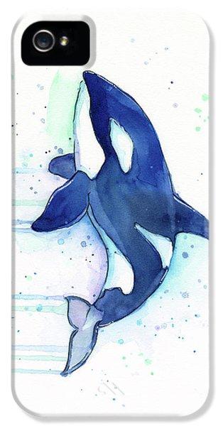 Kiler Whale Watercolor Orca  IPhone 5 Case by Olga Shvartsur