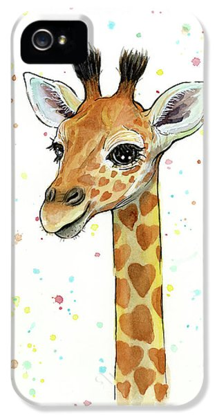 Baby Giraffe Watercolor With Heart Shaped Spots IPhone 5 Case by Olga Shvartsur