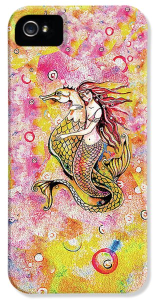 IPhone 5 Case featuring the painting Black Sea Mermaid by Eva Campbell