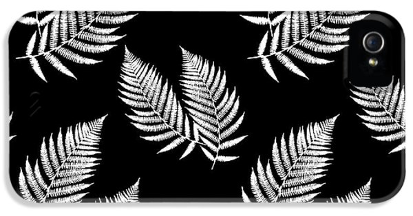 IPhone 5 Case featuring the mixed media Fern Pattern Black And White by Christina Rollo