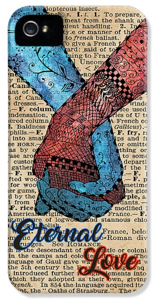 Eternal Love,holding Hands,space Design,dictionary Art,zentagle IPhone 5 / 5s Case by Jacob Kuch