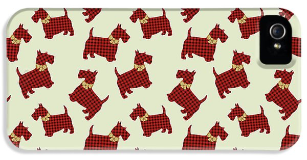 IPhone 5 Case featuring the mixed media Scottie Dog Plaid by Christina Rollo