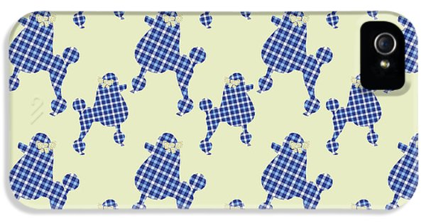 IPhone 5 Case featuring the mixed media French Poodle Plaid by Christina Rollo
